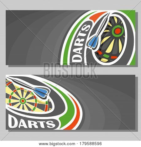Vector banners for Darts game: thrown darts arrow on curve trajectory flying in dartboard target, 2 template tickets to sporting tournament with empty field for title text on black abstract background