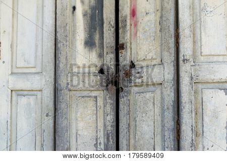 Old asian wooden barn door with Lock