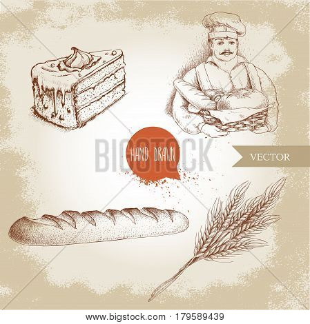 Hand drawn set bakery illustrations. Baker with baker basket of fresh bread fresh baguette cream cake and wheat bunch.