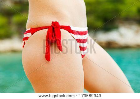 Close up photo of woman body in bikini