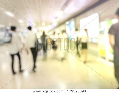 Blurred Image Of People Walking In Subway Train Station In Rush Hour, Crowd Coming To Or Leaving The