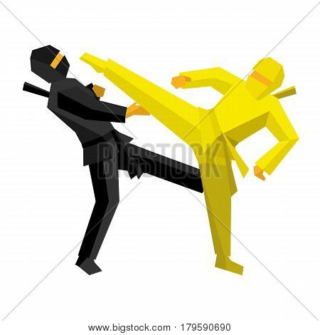 Black and yellow ninja combat. Martial art fighter hit one another. Vector illustration on white background.