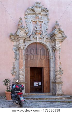 Old Decorative Door Of A Church In Erice, Sicily