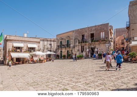 Main Square Of Erice With Touristic Shops And Restaurants, Near Trapani, Sicily