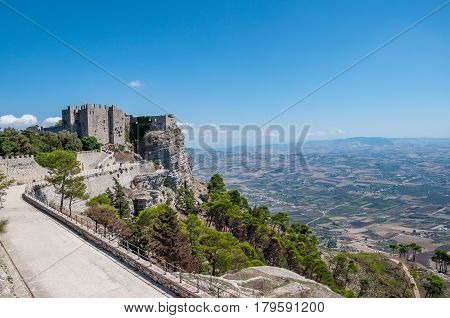 Castle In Erice, Province Of Trapani In Sicily