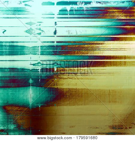 Abstract grunge background with retro design elements and different color patterns: yellow (beige); brown; blue; purple (violet); cyan
