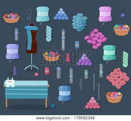 Knitting accessories set with yarn balls of wool, kntting and handmade hobby tools vector illustration