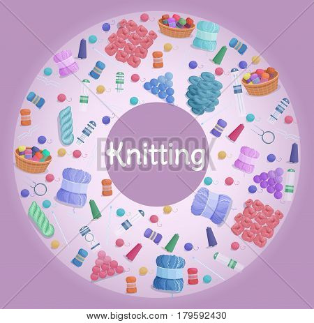 Handmade or knitting background with yarn skeins, knitting tools,  machine and handmade hobby accessories in flat style vector illustration