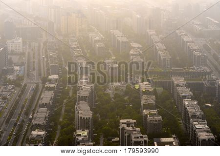 Heavy Smog in Beijing aerial photo with large buildings