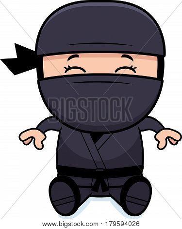 Cartoon Little Ninja Sitting