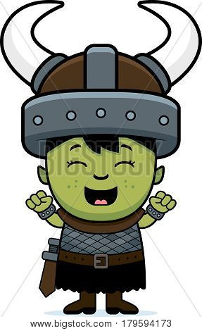 Cartoon Orc Child Celebrate
