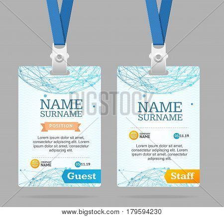 Id Card Template Plastic Badge with Abstract Mesh Sphere Structure. Vector illustration