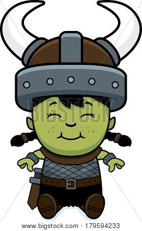 Cartoon Orc Child Sitting