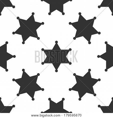 Hexagram sheriff star badge icon seamless pattern on white background. Vector Illustration