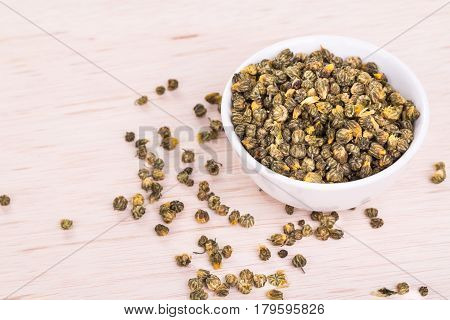 Dried chrysanthemum flower is traditional Asian Chinese remedy to improve eyesight and clear liver heat poster
