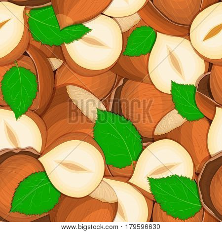 Vector seamless pattern hazelnut nut. Vector card illustration. Closely spaced peeled walnut nuts and in shell leaves. it can be used as packaging design element printing brochures on healthy and vegetarian diet
