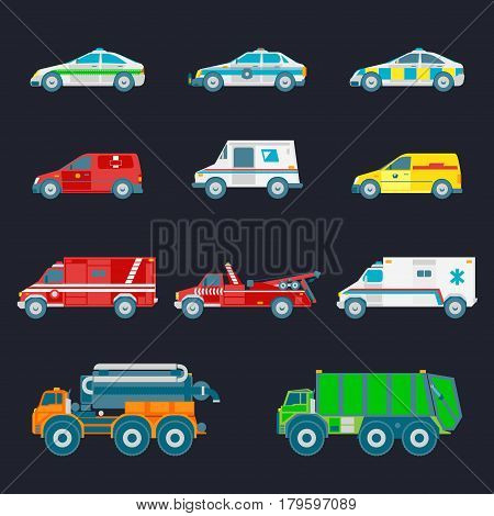 Vector city transport set in flat style. Urban vehicles infographics. Different municipal, special and emergency services trucks icons collection.