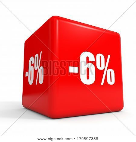 Six Percent Off. Discount 6 %. Red Cube.