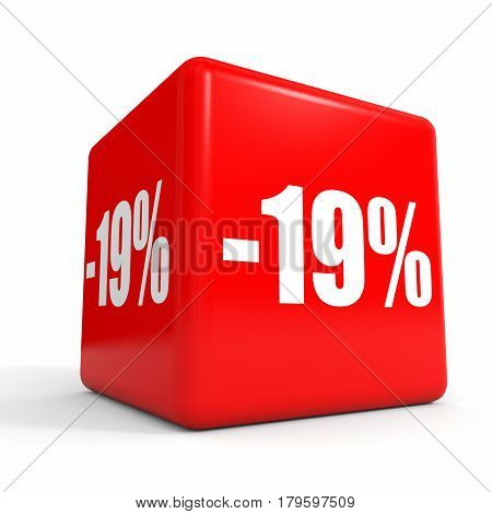 Nineteen Percent Off. Discount 19 %. Red Cube.