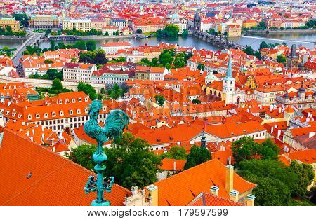 Aerial view over the old town of Prague including Charles bridge and Vltava river