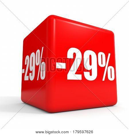 Twenty Nine Percent Off. Discount 29 %. Red Cube.