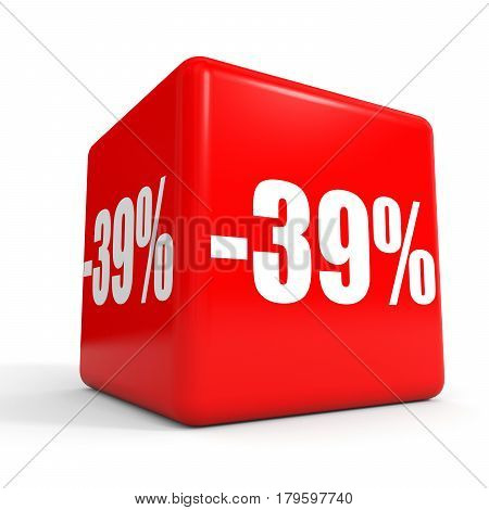 Thirty Nine Percent Off. Discount 39 %. Red Cube.