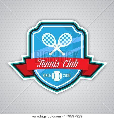 Tennis badge logo template, sport t-shirt graphics. Club emblem, college league logo, sport tournament, championchip design