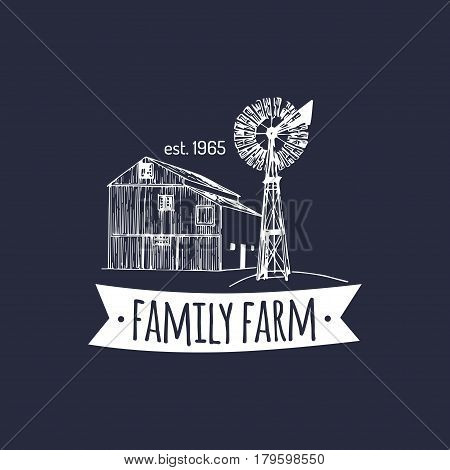 Vector retro family farm logotype. Organic premium quality products badge. Eco food sign. Vintage hand sketched barn and windmill icons.