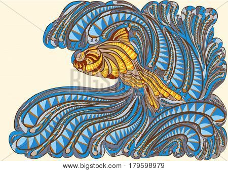 waves with fish. abstract multicolor vectror illustration