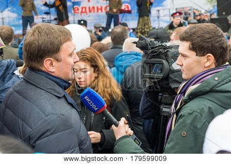 Volgograd, Russia - November 04.2016. The Interview on Day of National Unity