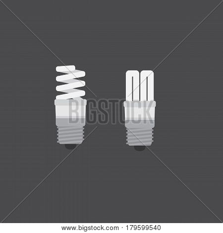 Two fluorescent light bulbs in a flat style on a gray background. Vector illustration.