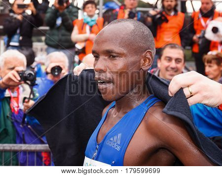 Rome Italy - April 2nd 2017: Ruto Dominic Kipngetich won the second place in the men's race the 23 ^ Rome Marathon. Ruto on his arrival at the finish line.