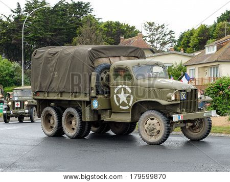 Colleville sur mer Normandy 4th June 2014: military vehicles attending to celebrations for 70th anniversary of D-day.