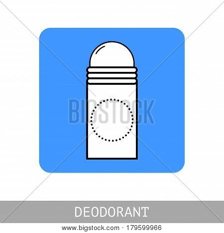 Roll-on deodorant for body hygiene. Flat icon. Vector