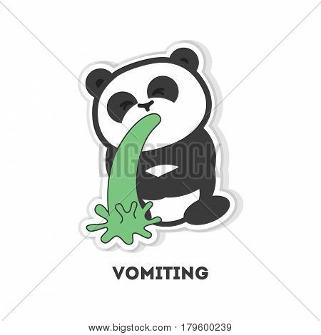 Isolated vomiting panda. Cute funny character on white background.
