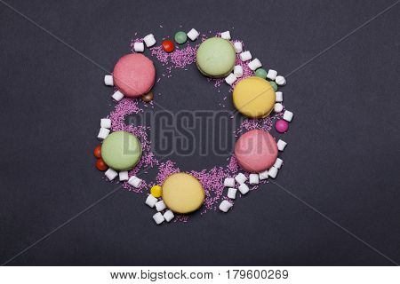 Colorful Macaron, Dragee Sweets, Marshmallow, Zephyr And Sprinkles
