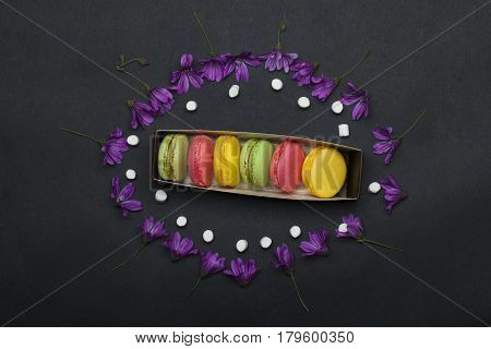 Colorful Macaron, Violet Flowers, Marshmallow, Zephyr In Box