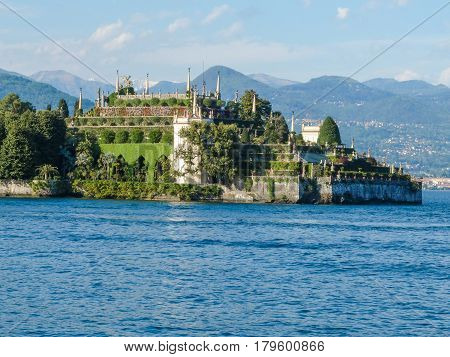 Complex gardens of a villa of isola Bella major island of Maggiore Lake in Northern Italy at sunset