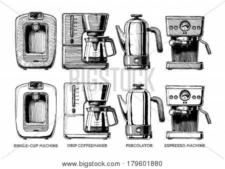 Vector hand drawn illustration set of coffee machines. Single-cup maker drip coffeemaker percolator and espresso machine