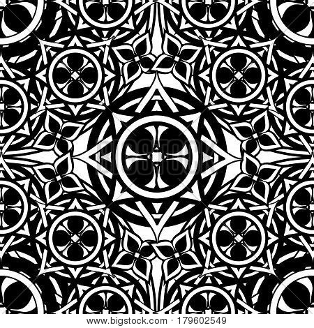Black and white seamless pattern Gothic interlacing lines and objects of a square shape