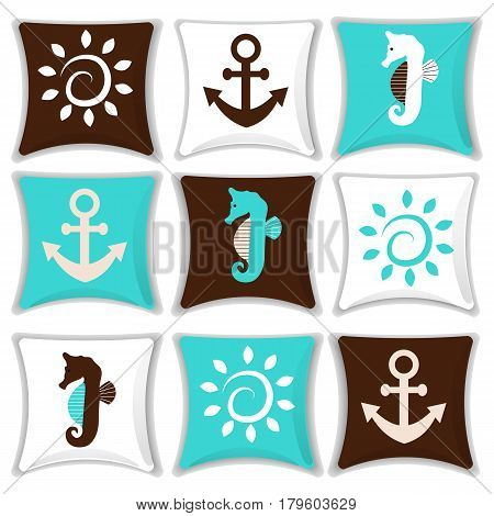 A set of pillows . Pillow in a nautical style. The decor of the interior design. Cartoon. Vector illustration