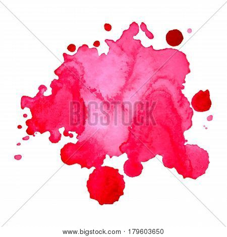 Watercolor bright pink spot blob blot isolated background vector