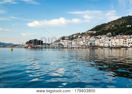 View from the sea of Port de la selva village on the Costa Brava, Catalonia Spain