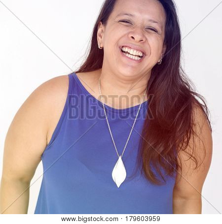 Chubby woman smiling positivity face expression