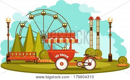Vector illustration Amusement park and recreation trolley with ice cream cheerful fair show