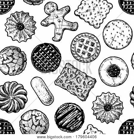 Vector seamless pattern with different tasty cookies. illustration background in old fashioned etched style.