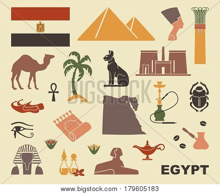 Traditional Egyptian stylized icons. Flat vector silhouettes