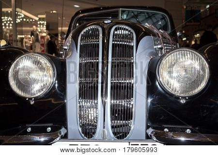 Moscow Russia - April 02 2017: BMW-327/28 Coupe Germany 1939. Retro car exibition in shopping mall Metropolis.