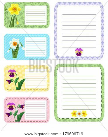 Set of different vector note papers adhesive remind. Business office memo message notepad paper note page. Remember space frame paper note post reminder sheet pad list letter.