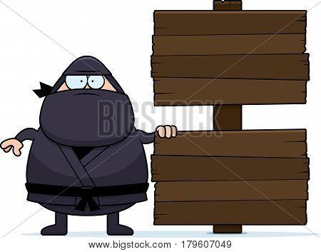 Cartoon Ninja Wood Sign